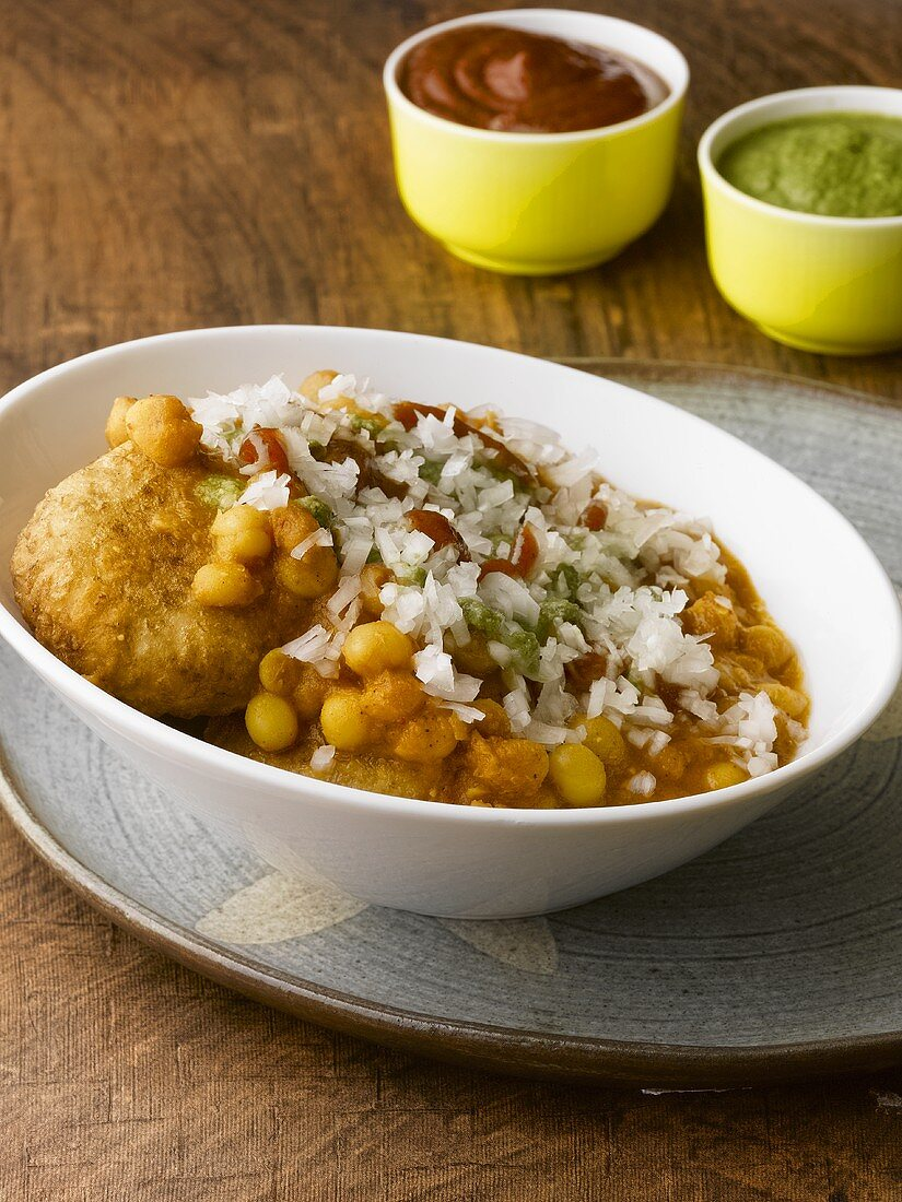 Aloo tikki (Indian potato cakes) with chick-pea sauce