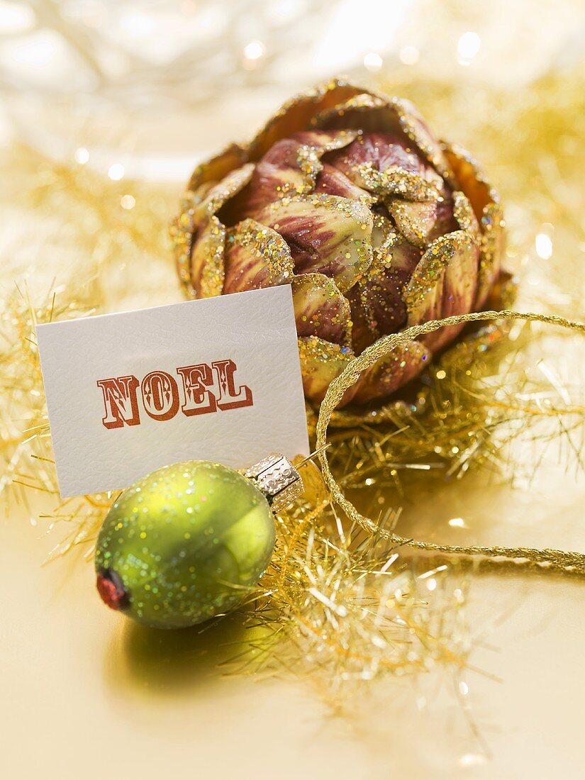 Christmas tree ornament with Christmas card