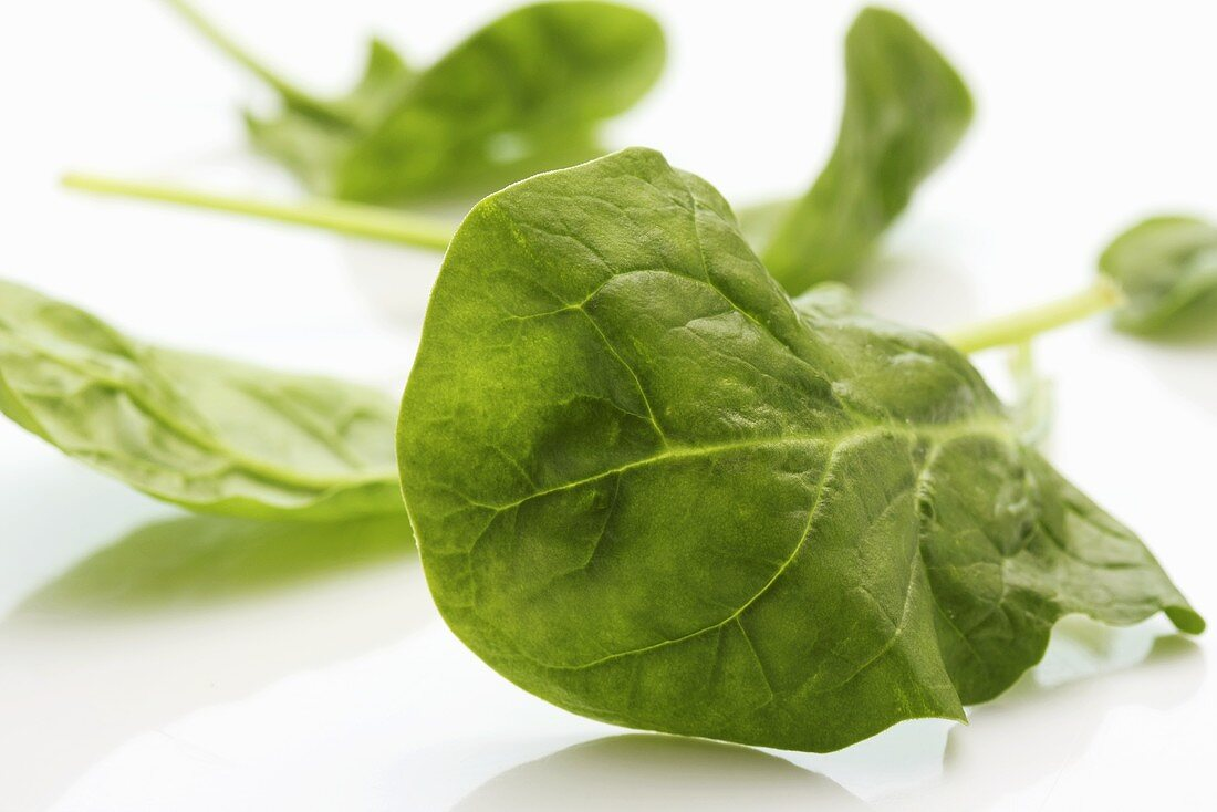 Several spinach leaves