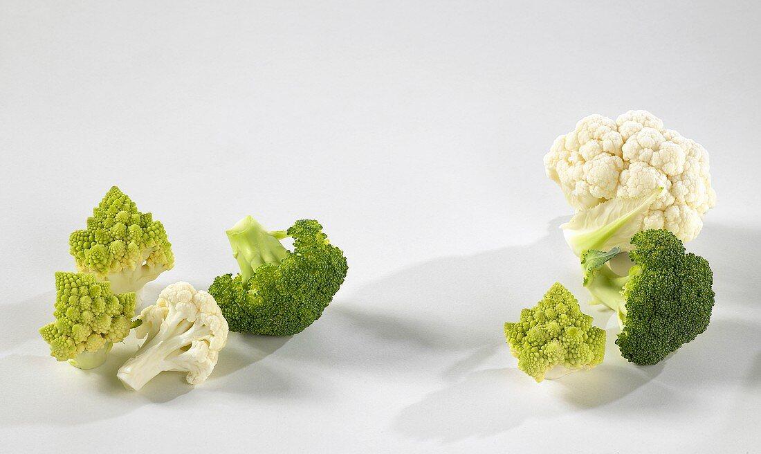 Cauliflower, broccoli and romanesco florets