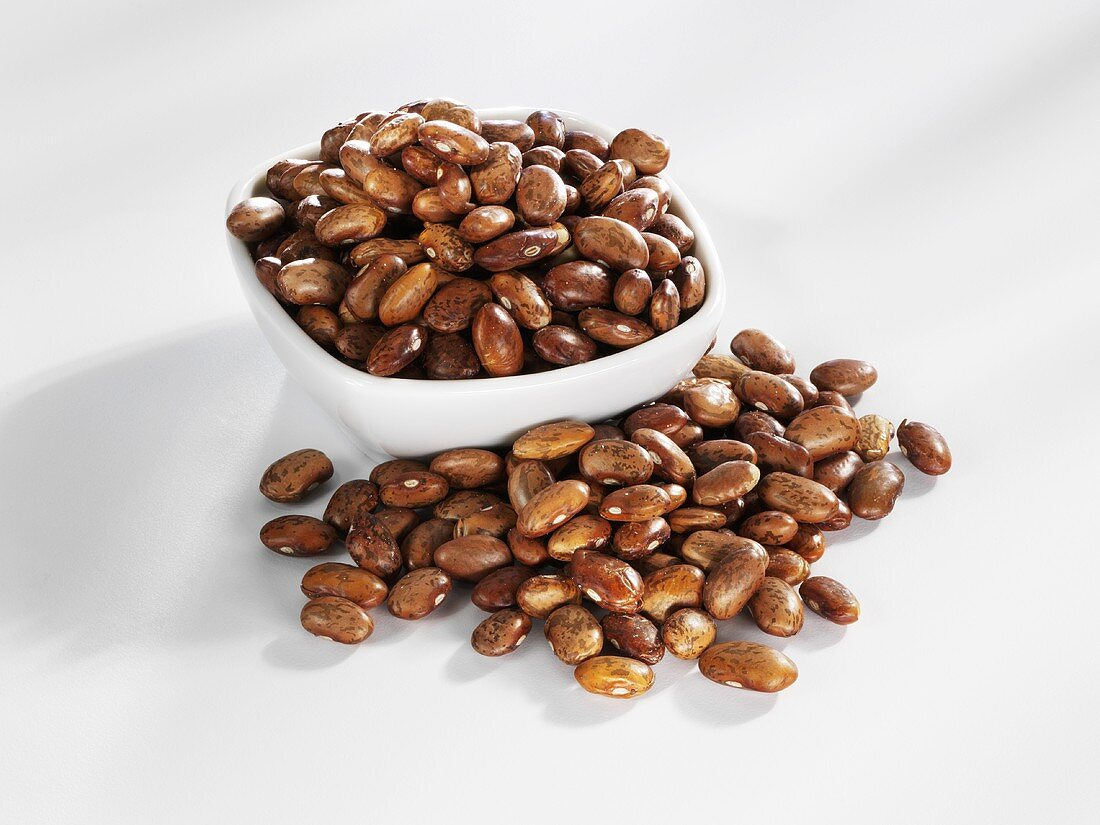 Brown beans in and beside small bowl