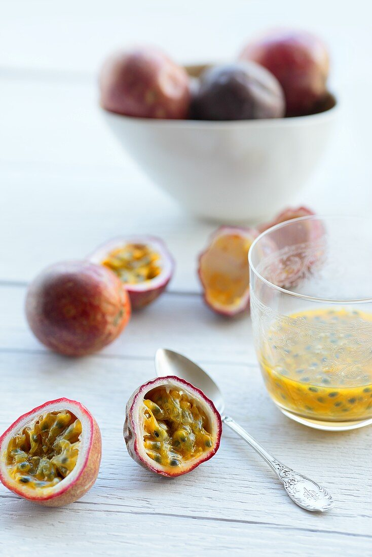 Fresh passion fruits and passion fruit pulp