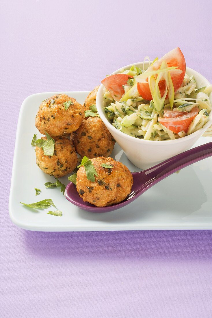 Fish balls with rice noodle salad