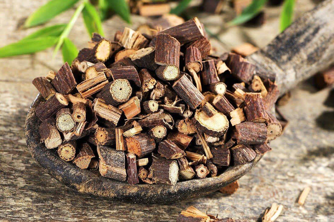 Dried Polygonum multiflorum root on wooden spoon