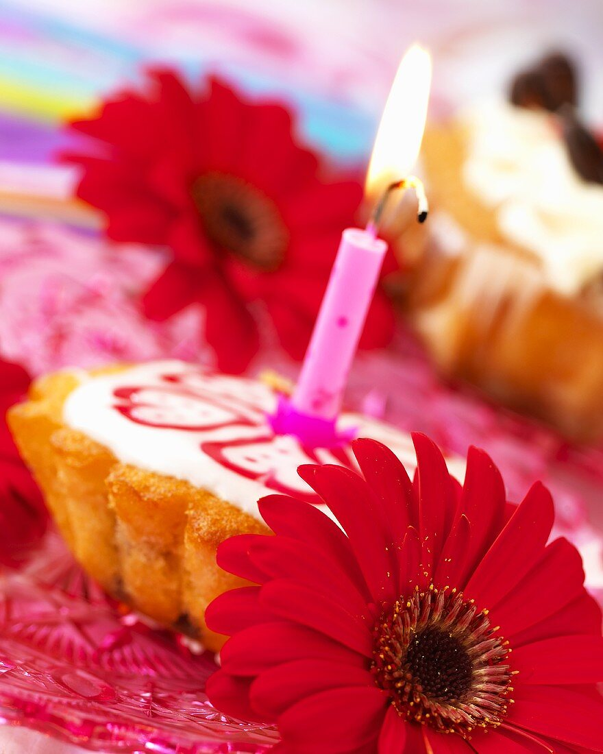 Small cake with one candle and red gerberas