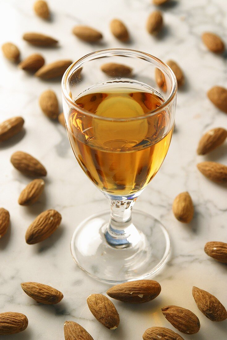 Amaretto and scattered almonds