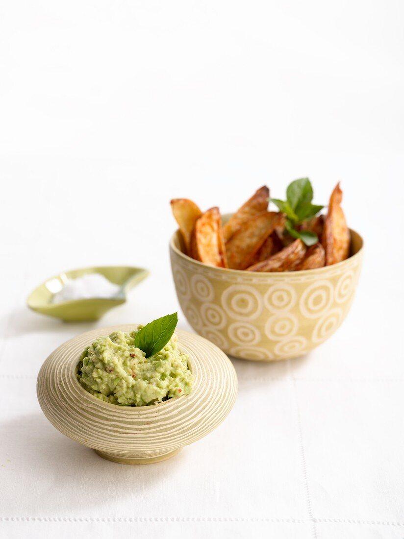 Potato wedges with avocado salsa