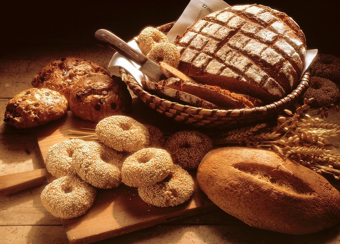 Several Assorted Whole Grain Breads