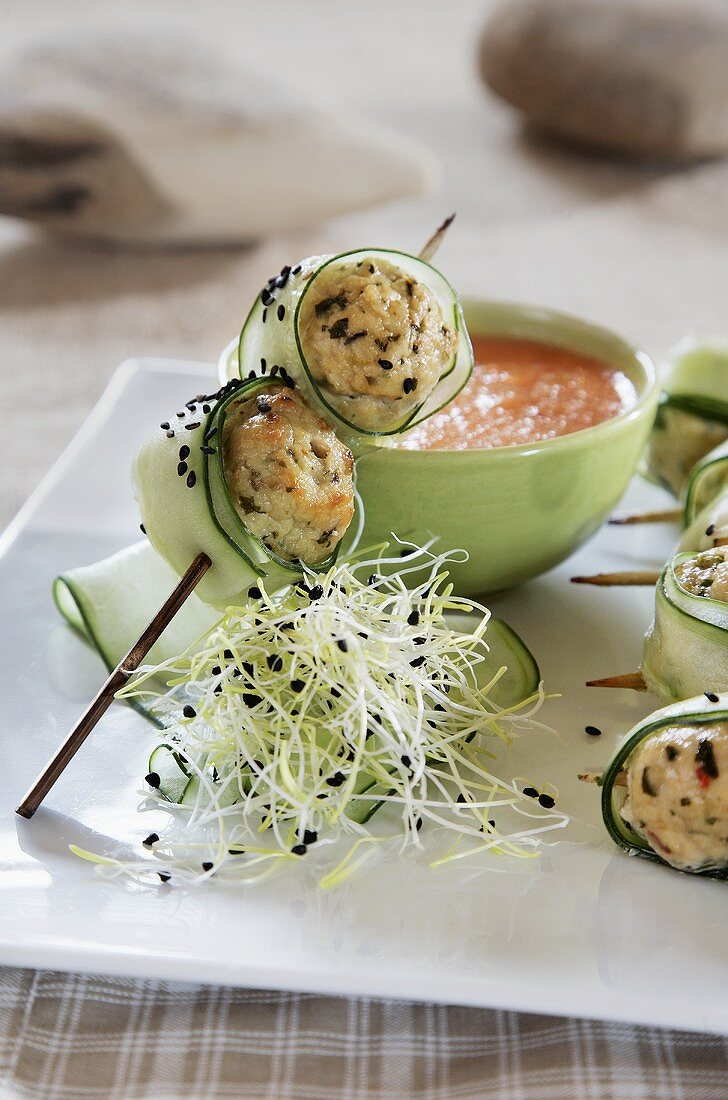 Cucumber-wrapped chicken meatballs, Vietnamese style