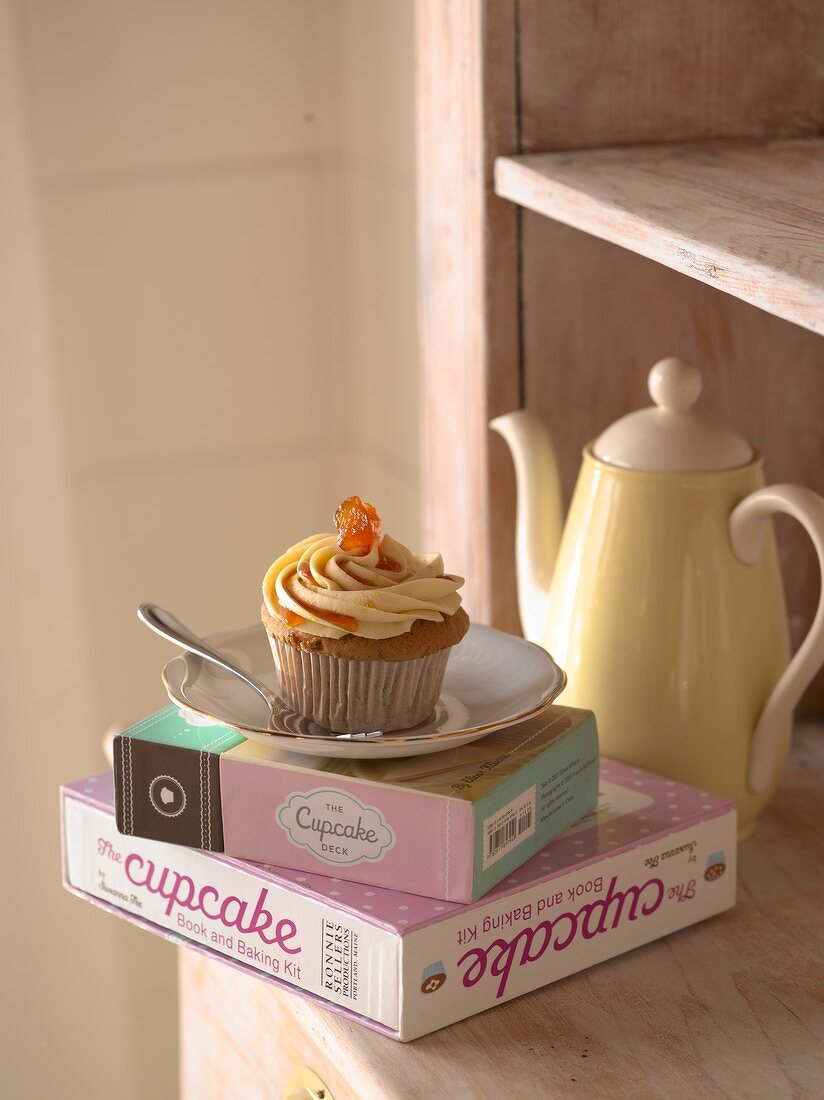 Carrot and ginger cupcake with cream cheese icing