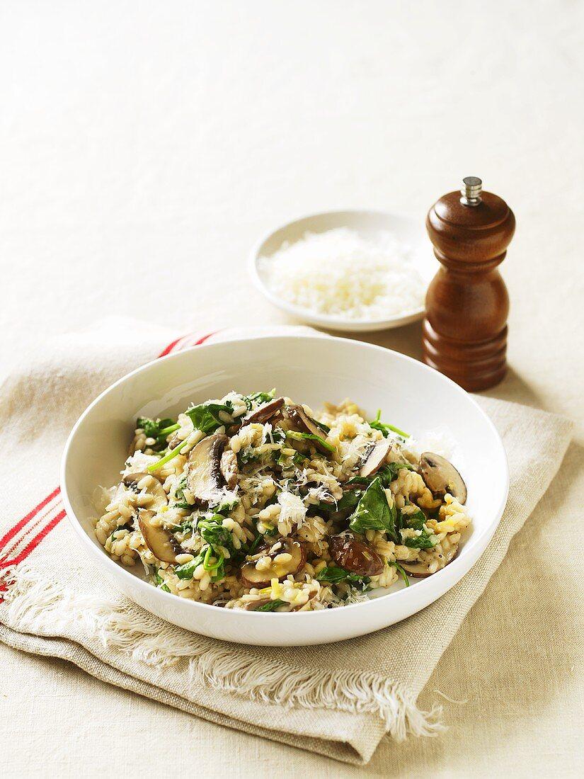 Risotto ai funghi e spinaci (risotto with mushrooms and spinach)