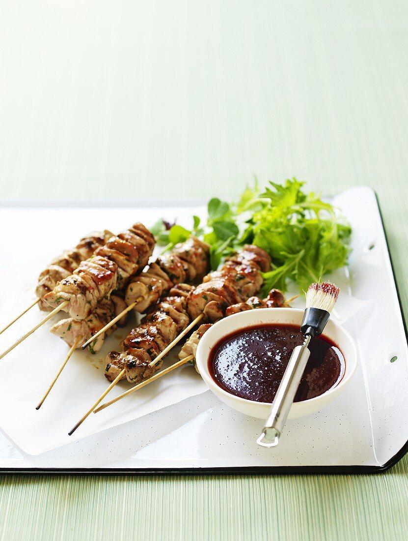 Chicken kebabs with plum sauce