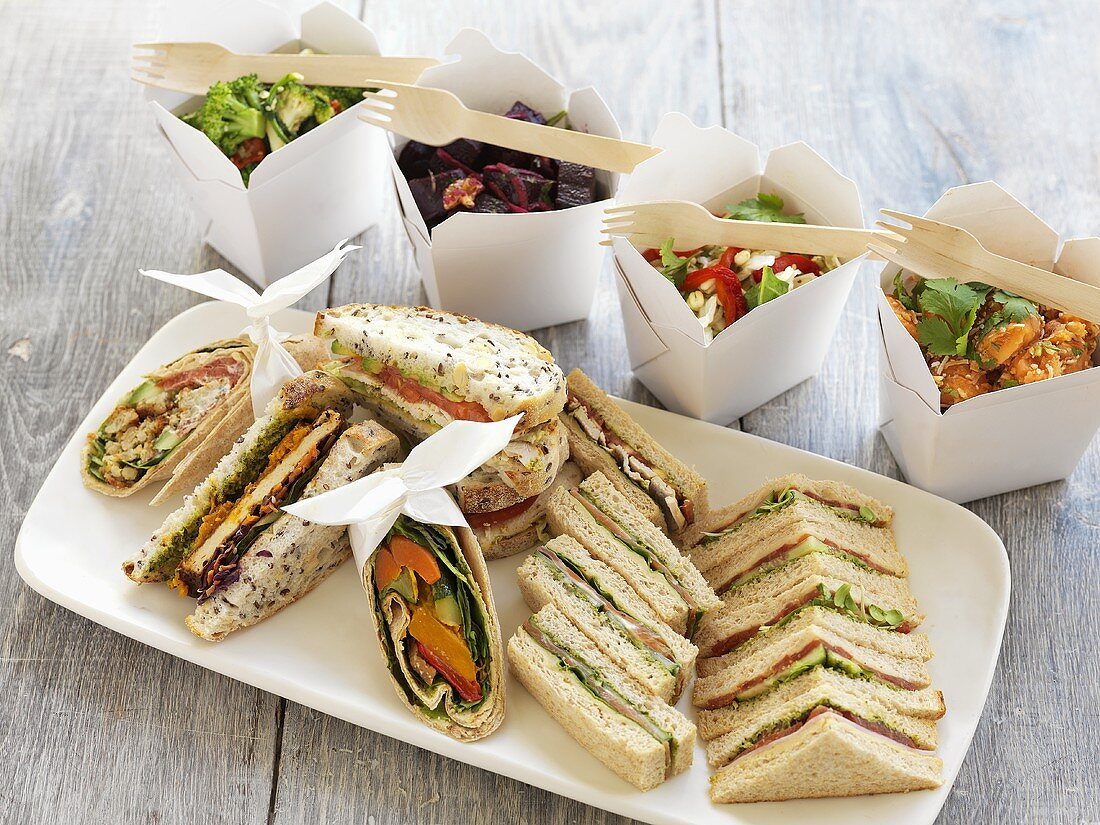 Assorted sandwiches and salads to take away