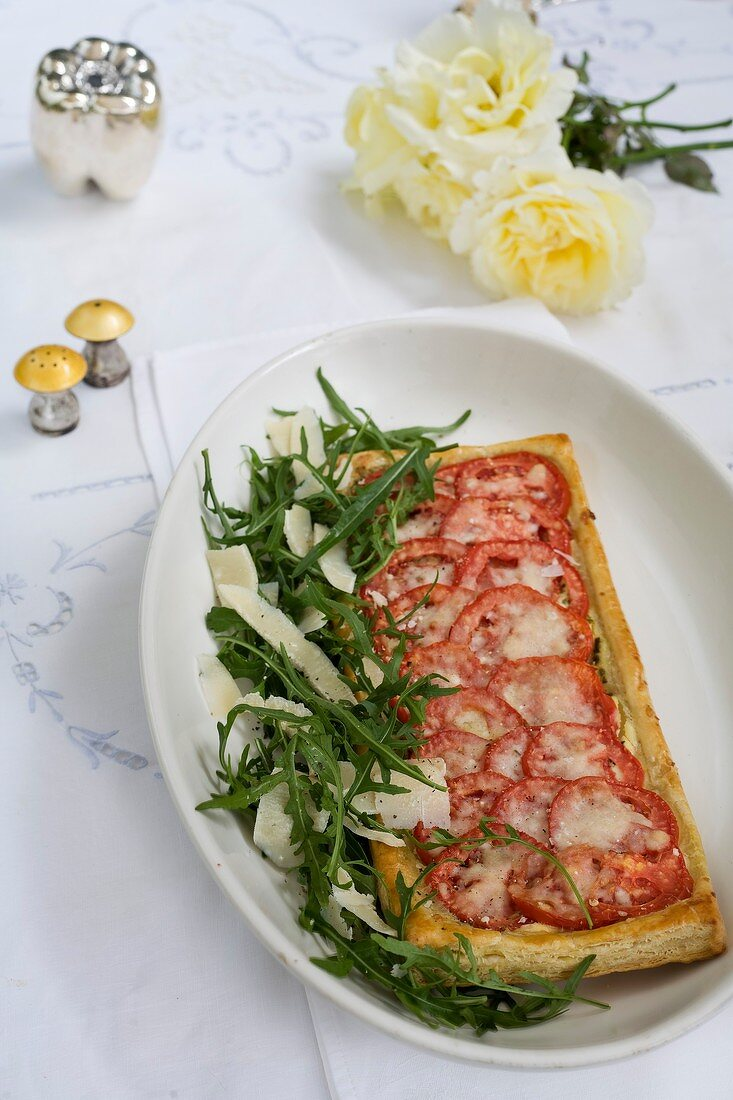 Tomato and Parmesan tart with rocket