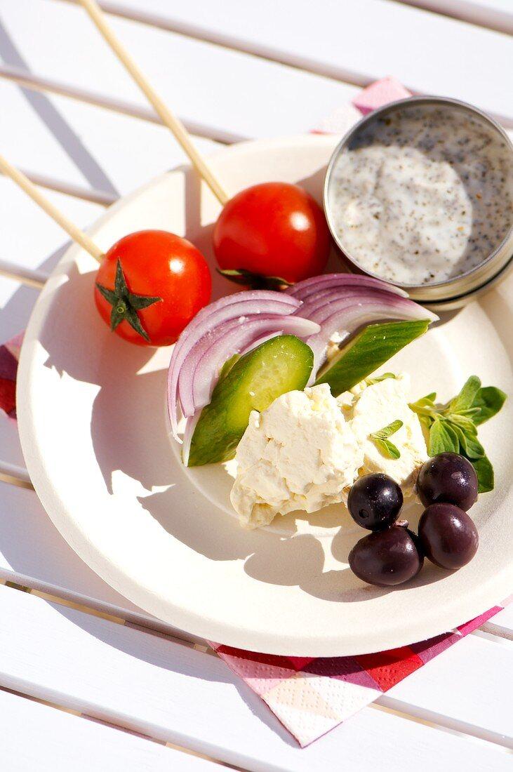 Vegetables and feta on skewers