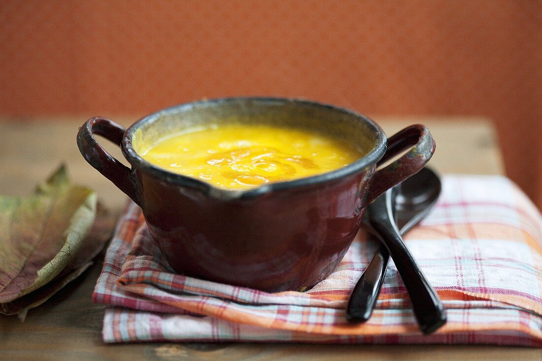 Cream of pumpkin soup with black salsify