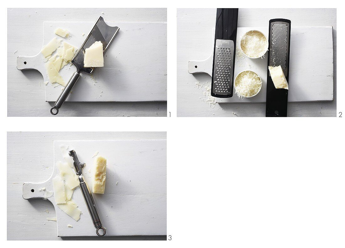 Slicing, grating and shaving Parmesan (with vegetable peeler)