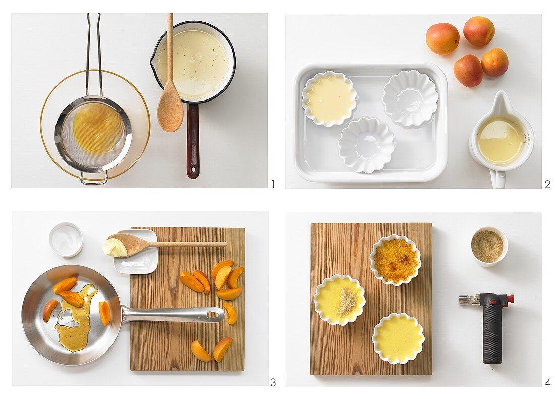 Making tonka bean crème brûlée with glazed apricots