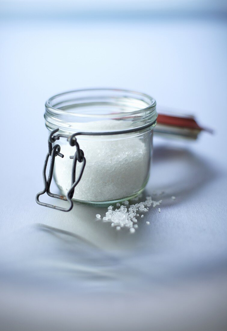 Coarse salt in a preserving glass