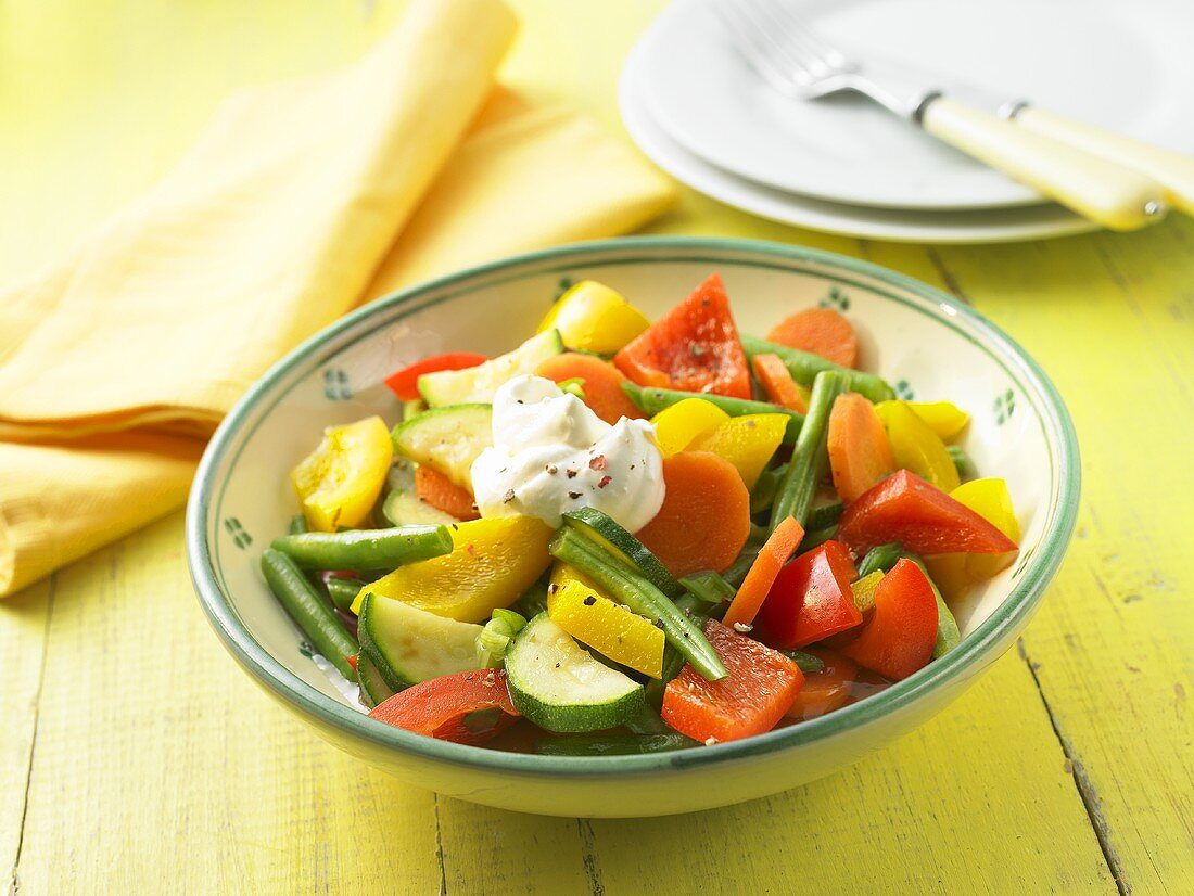 Mixed vegetables with creme fraiche