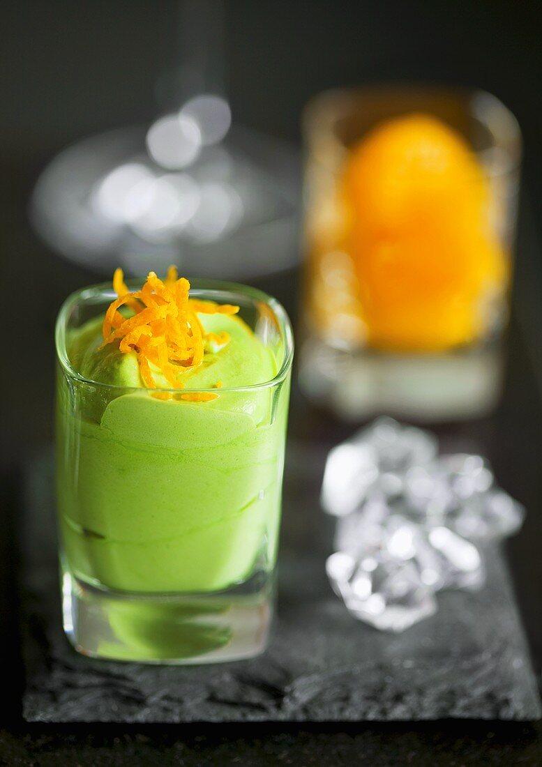 Matcha cream with orange zest