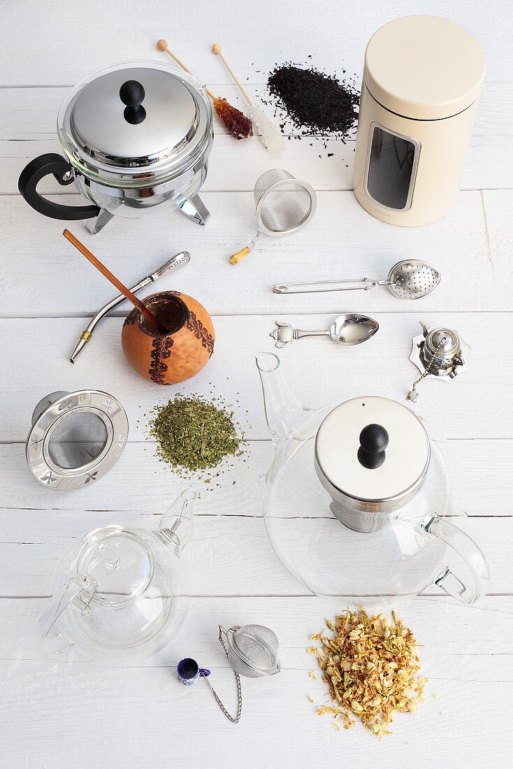 Tea things and tea leaves