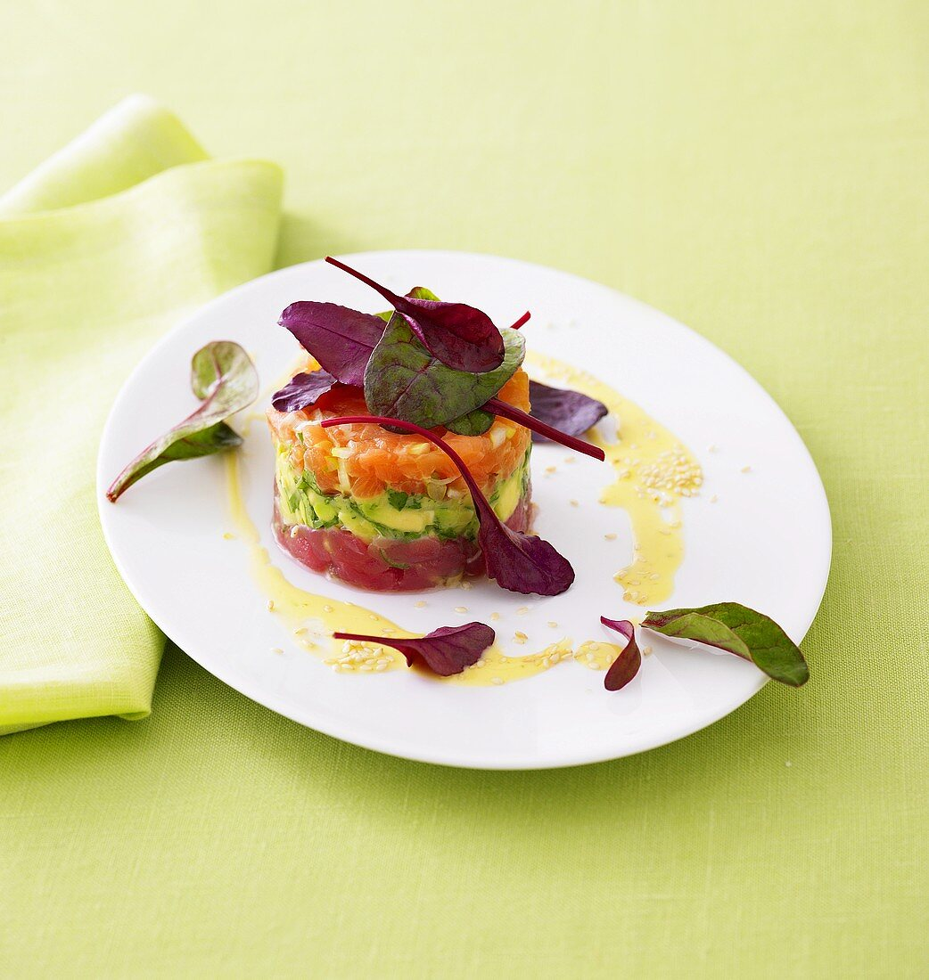 Three kinds of tartare with lime mayonnaise