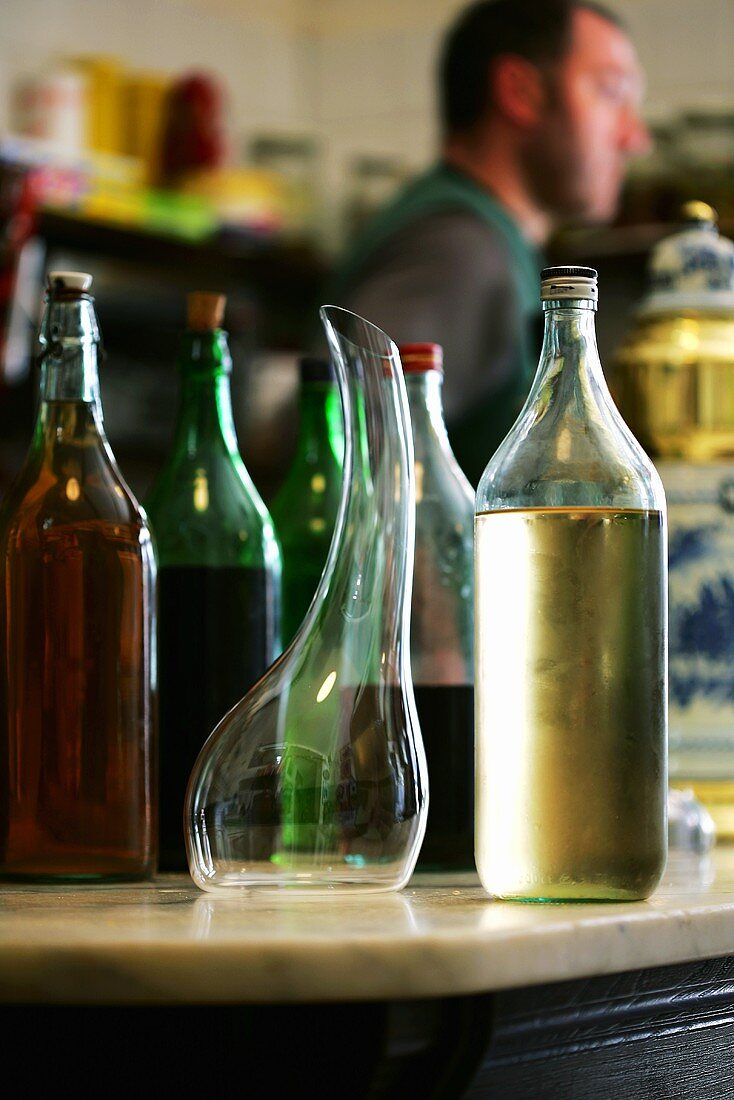 Various bottles of wine in a pub