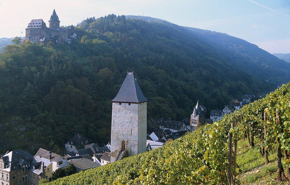 'Bacharacher Posten' Einzellage, Bacharach with Burg Stahleck, Germany