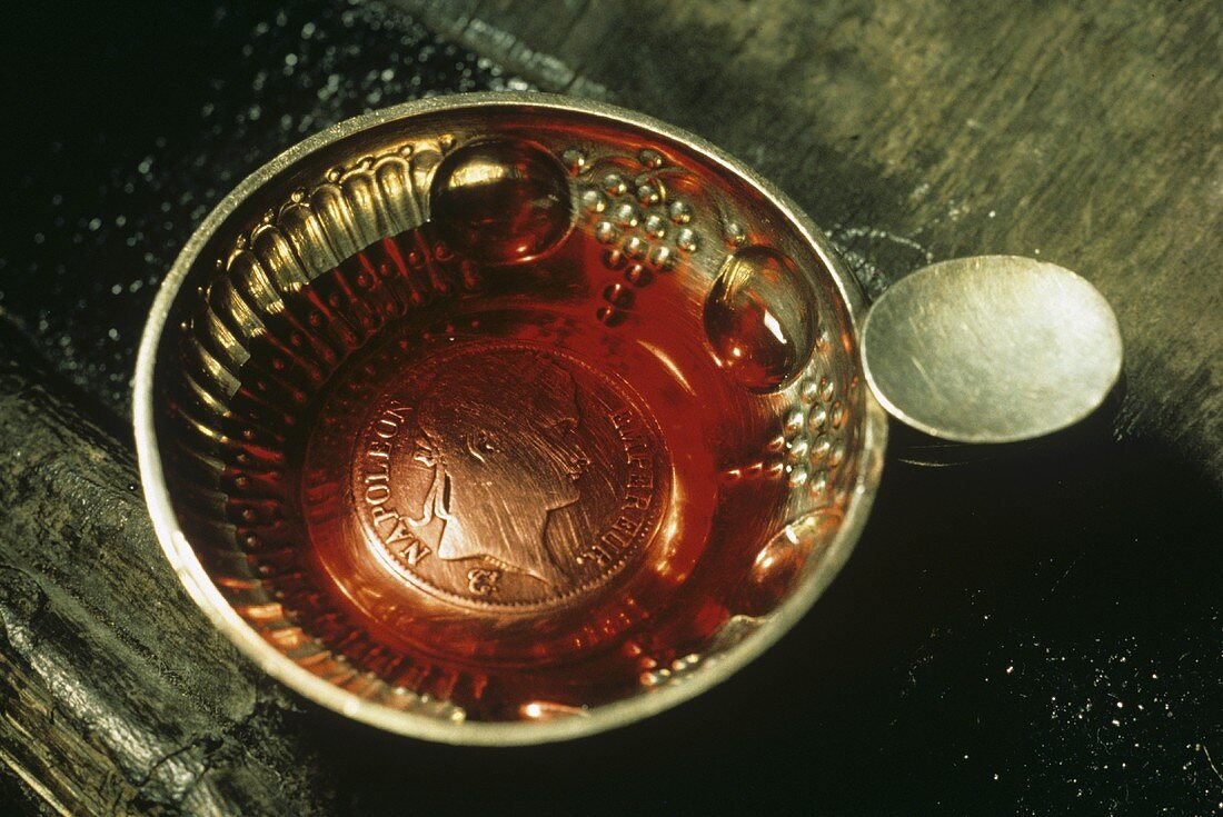 Tastevin, traditional shallow wine-tasting cup from Burgundy