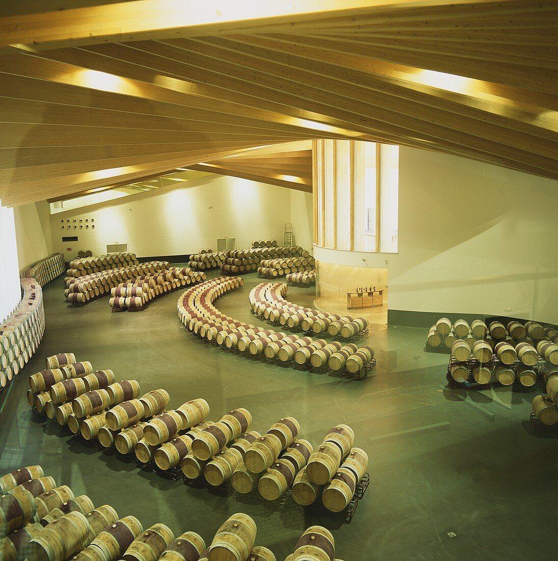 Wine cellar of Bodega Ysios, Laguardia, Rioja, Spain
