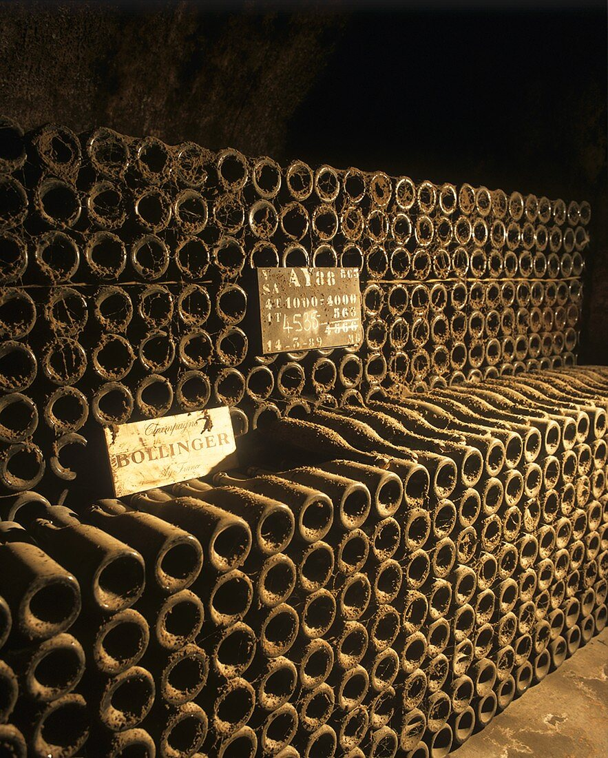 Bottles in a Bollinger cellar, Ay, Champagne, France
