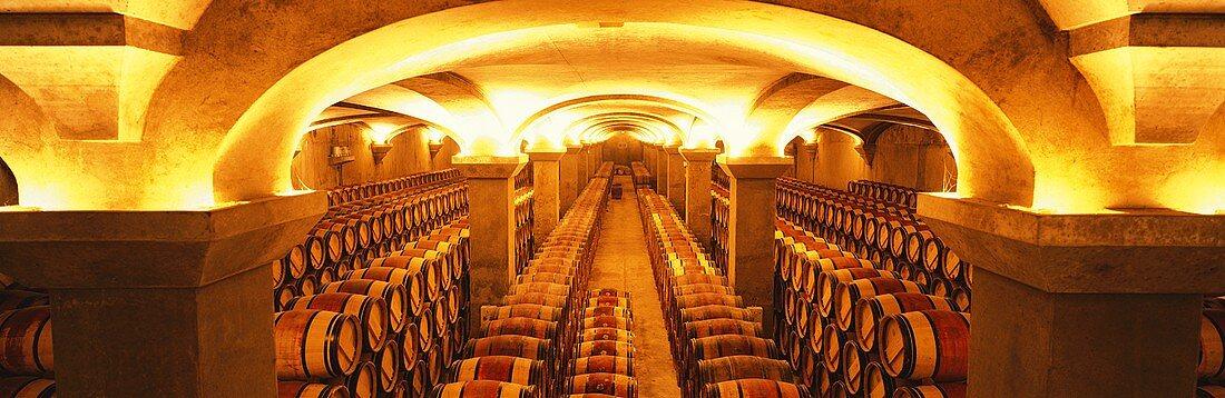 The wine cellar of Château Margaux, Médoc, France