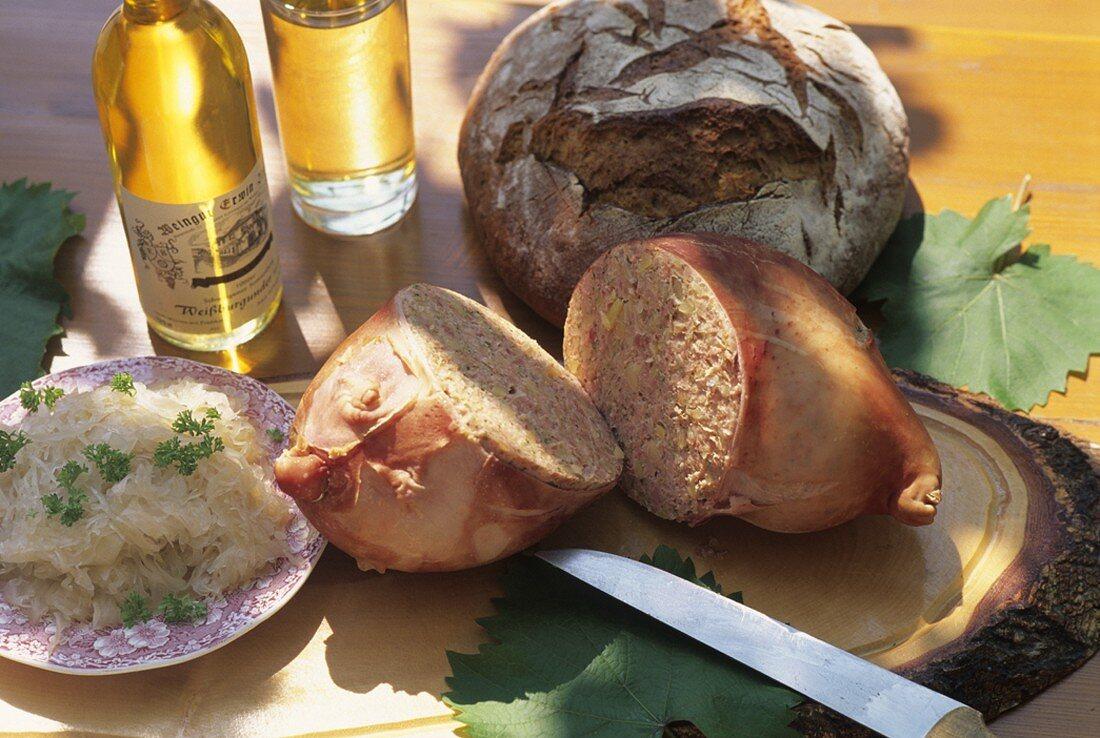 Stuffed pig's stomach with sauerkraut (Palatinate, Germany)