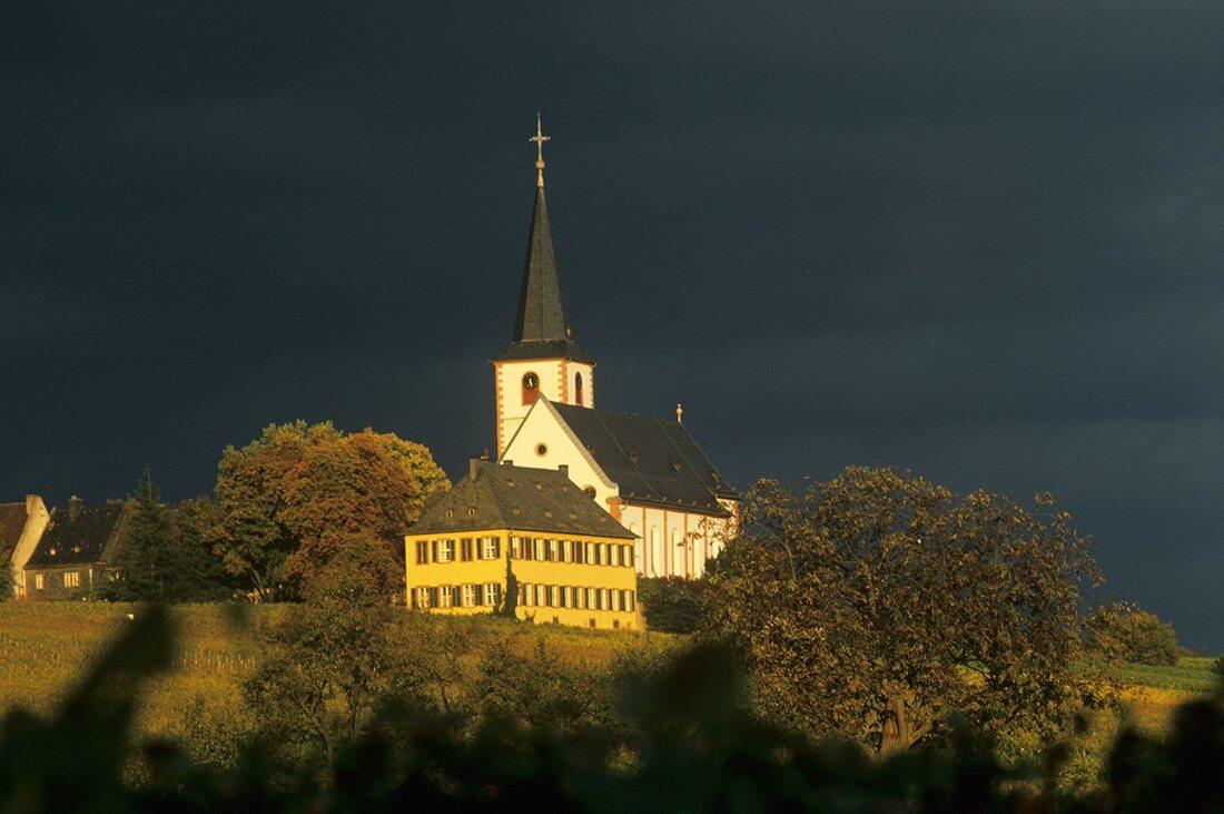 Hochheim under a threatening sky, Rheingau, Germany