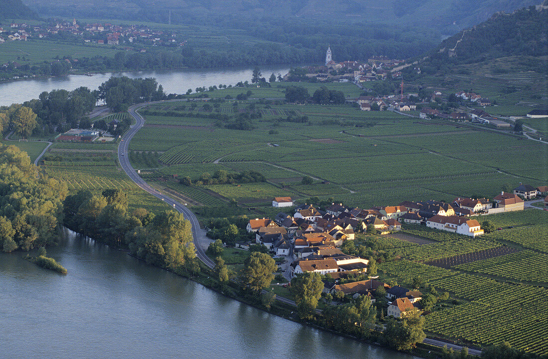 Oberloiben with Dürnstein in background, Wachau, Austria