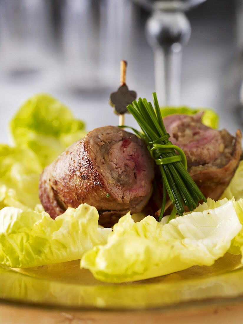 Duck roulade with lettuce and chives