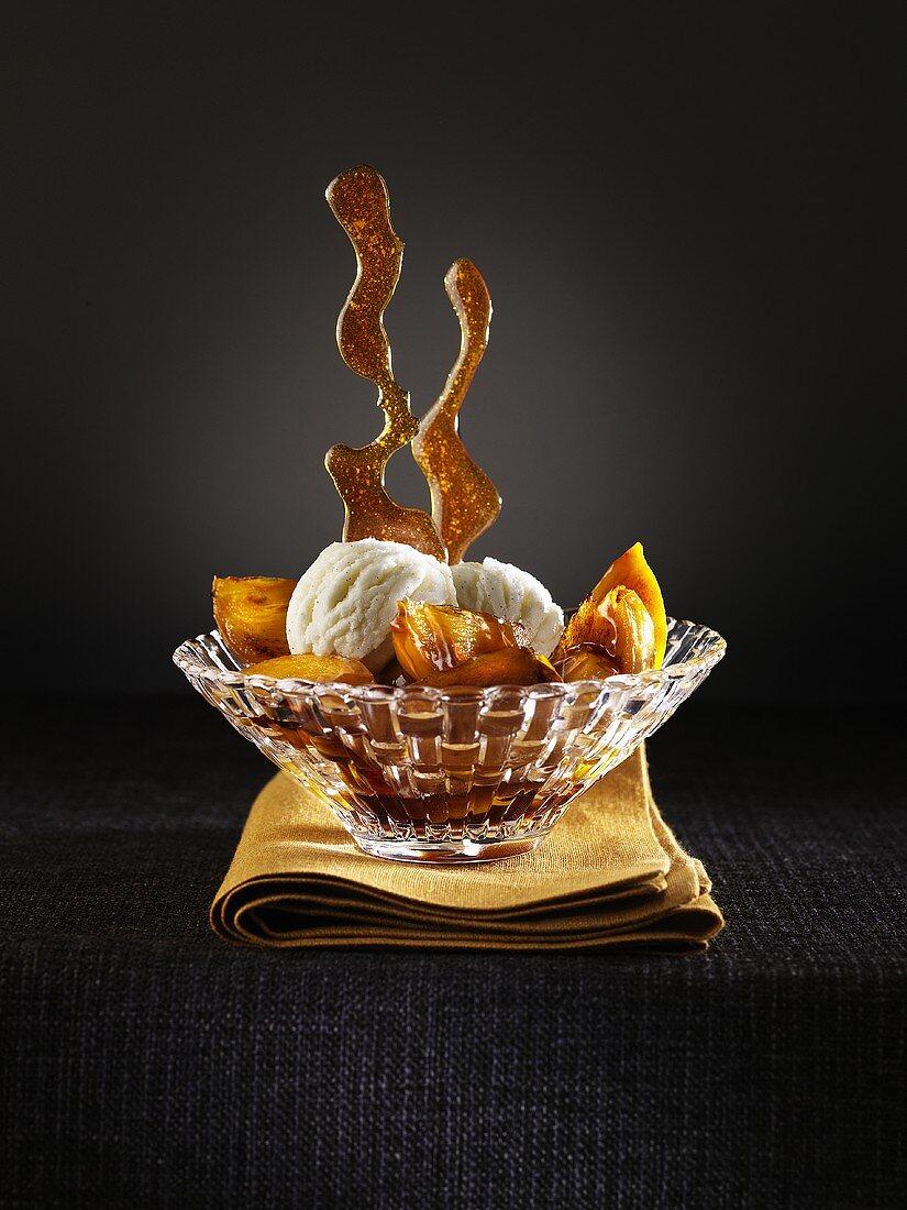 Caramelised kaki with honey, limes and vanilla ice cream