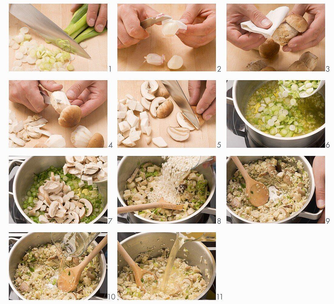 Porcini mushroom risotto being prepared