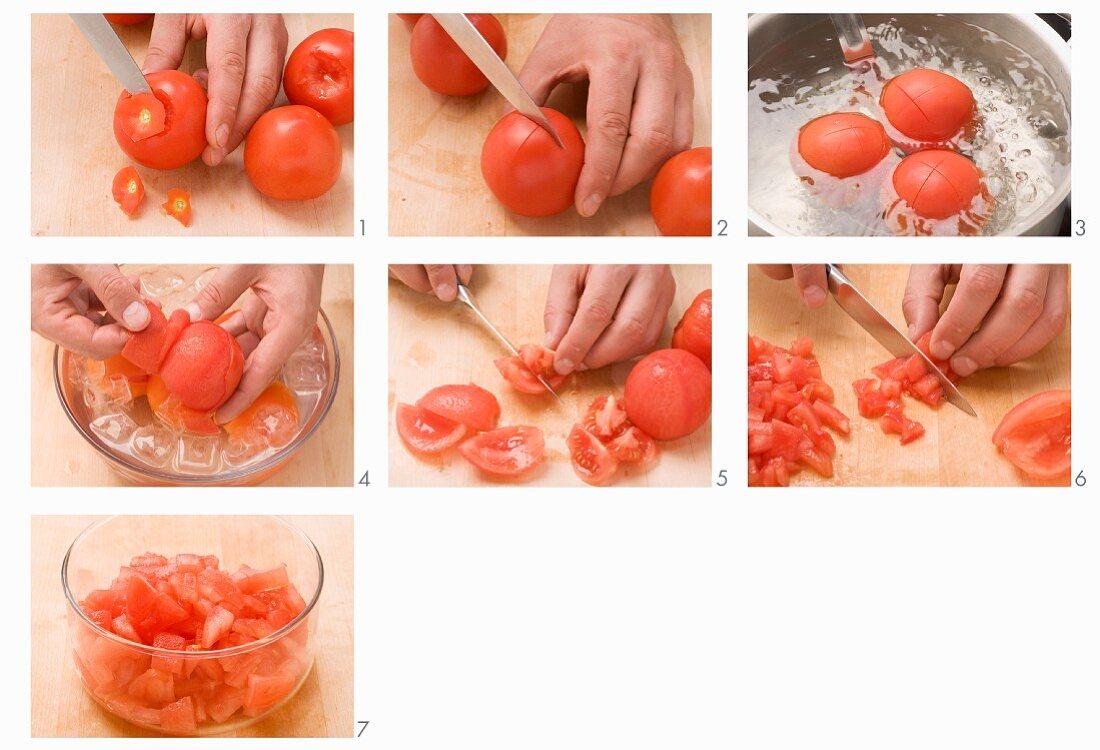 Tomaten blanchieren, enthäuten und kleinschneiden