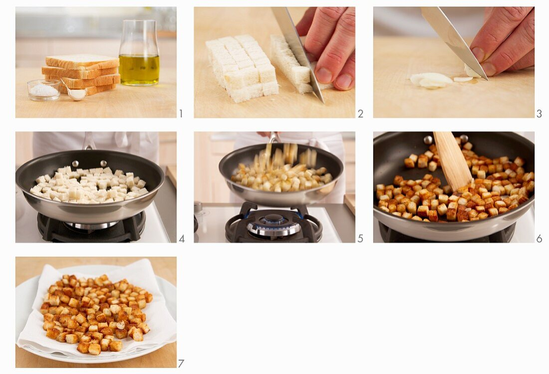 Croutons being made