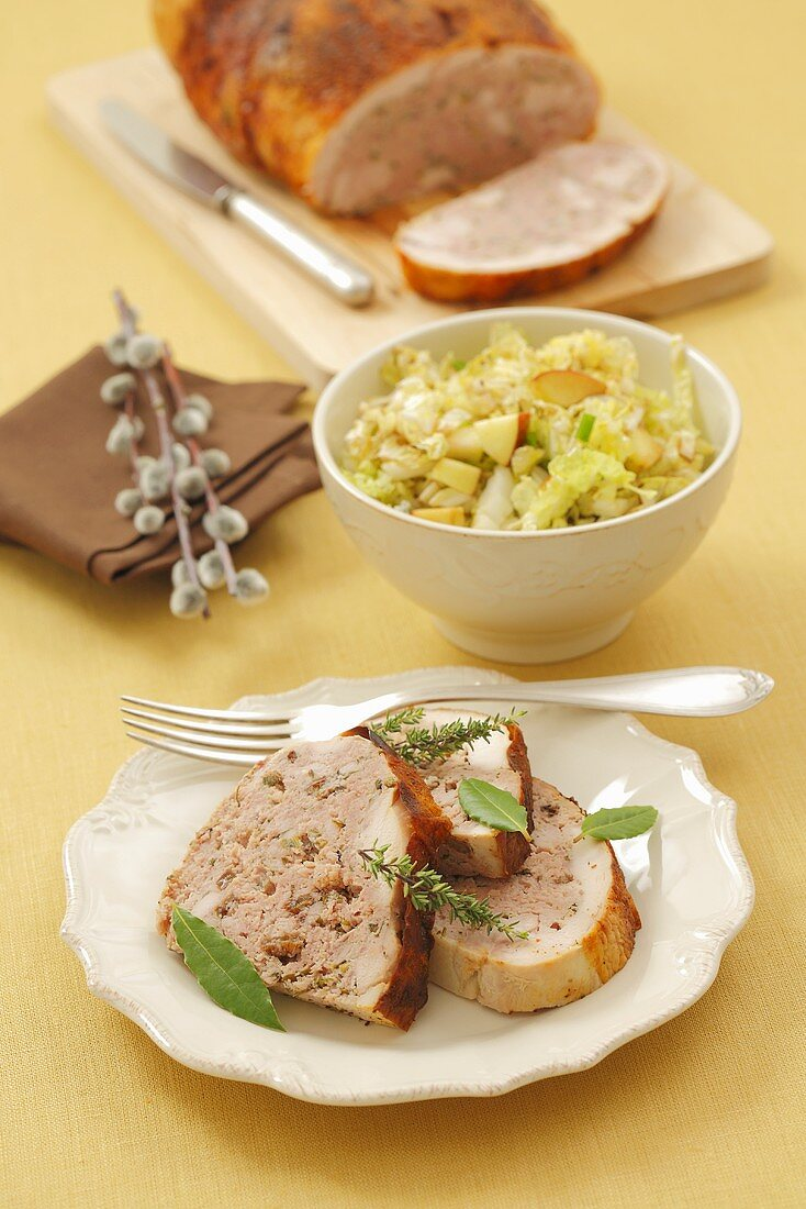Chicken with mince stuffing and salad
