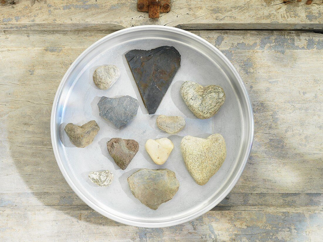 A collection of heart-shaped stones