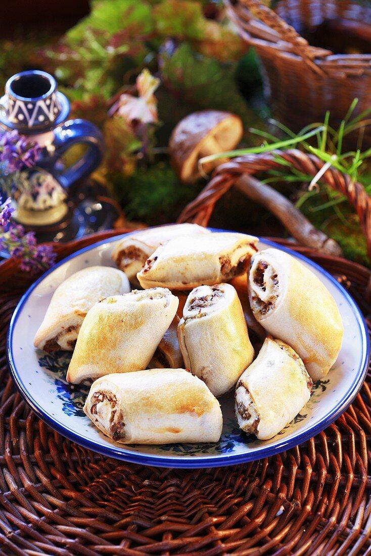 Small mushroom strudels