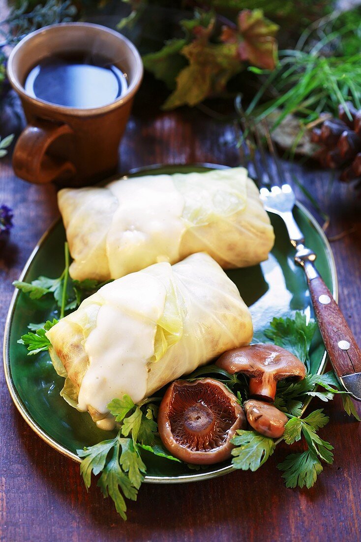 Stuffed cabbage leaves with tawny milkcaps