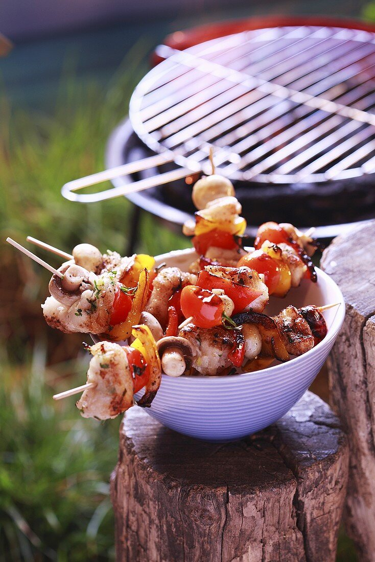 Barbecued fish and vegetable kebabs