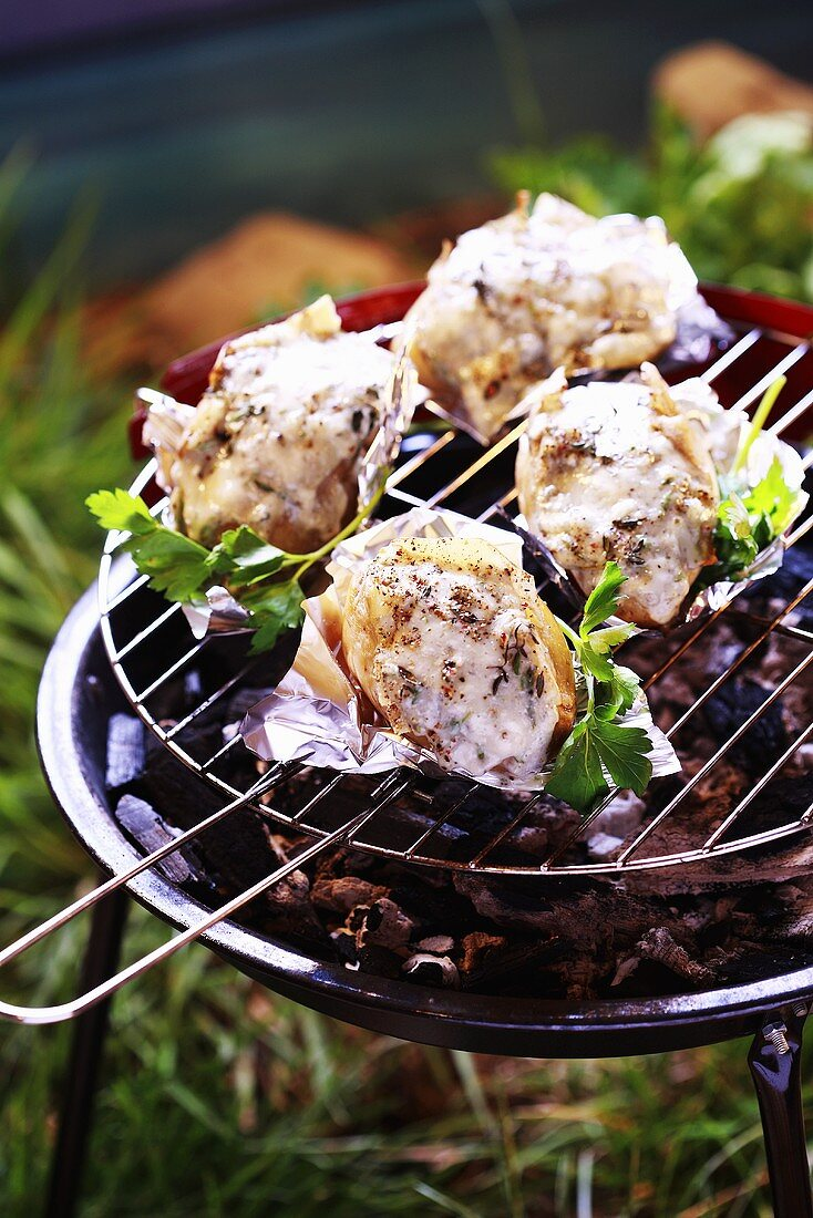 Potatoes on barbecue