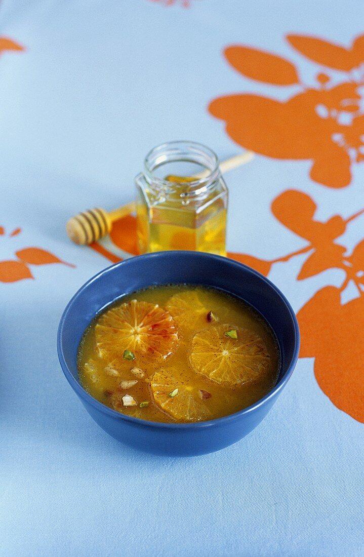 Orange soup with argan oil