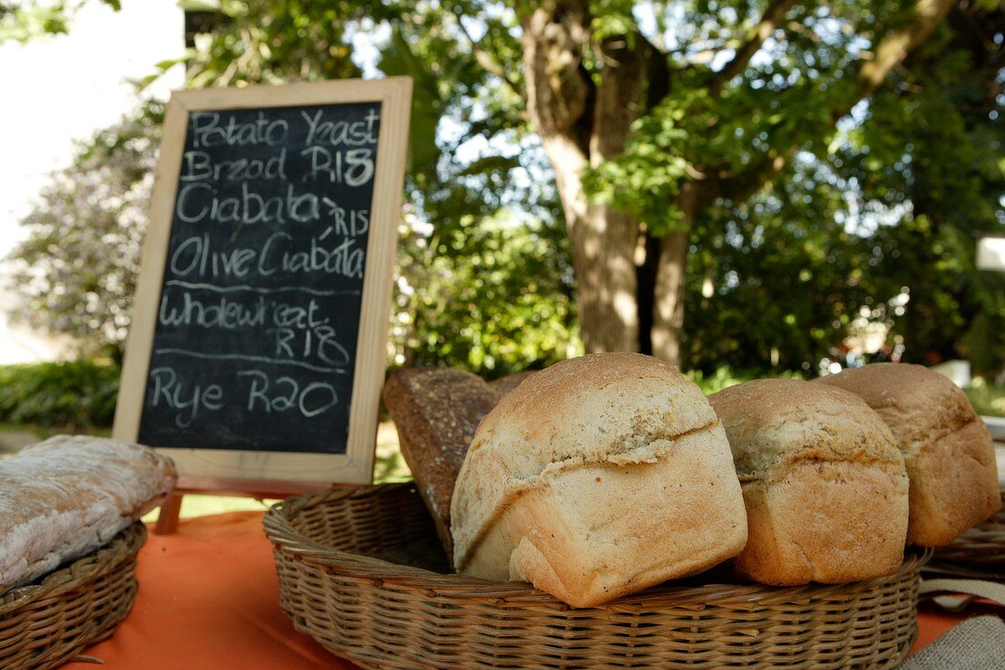 Various types of bread at a market