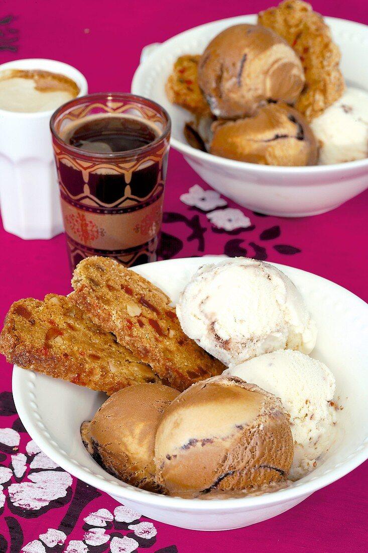 Ice cream dessert with biscotti and affogato